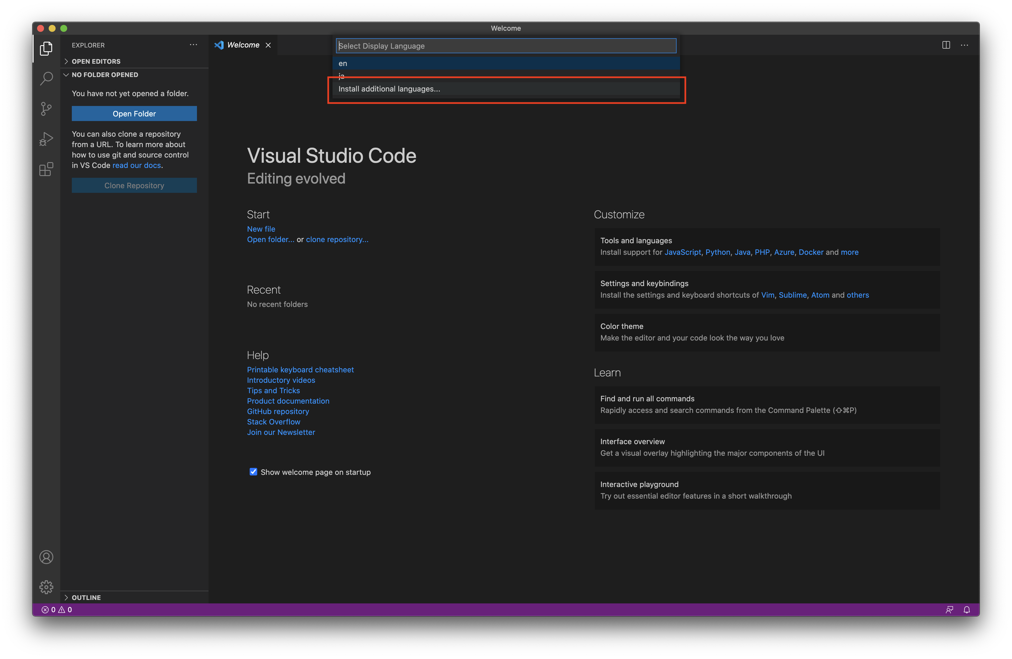 vscode Install additional Languages